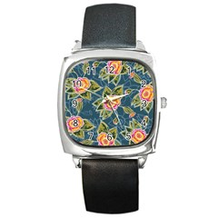 Floral Fantsy Pattern Square Metal Watch by DanaeStudio