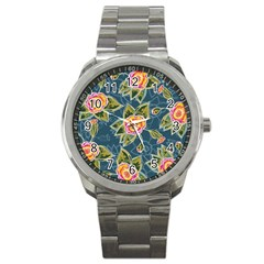 Floral Fantsy Pattern Sport Metal Watch by DanaeStudio