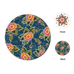 Floral Fantsy Pattern Playing Cards (round)  by DanaeStudio