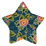 Floral Fantsy Pattern Star Ornament (Two Sides)  Back