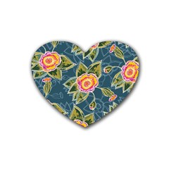 Floral Fantsy Pattern Heart Coaster (4 Pack)  by DanaeStudio