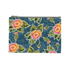 Floral Fantsy Pattern Cosmetic Bag (large)  by DanaeStudio