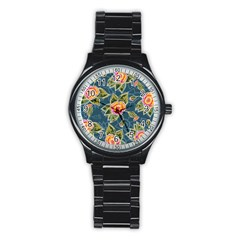 Floral Fantsy Pattern Stainless Steel Round Watch by DanaeStudio