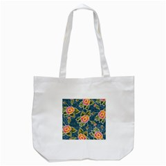 Floral Fantsy Pattern Tote Bag (white) by DanaeStudio