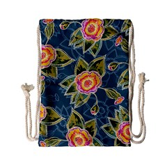 Floral Fantsy Pattern Drawstring Bag (small) by DanaeStudio