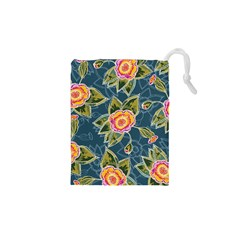 Floral Fantsy Pattern Drawstring Pouches (xs)  by DanaeStudio
