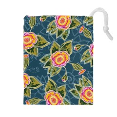 Floral Fantsy Pattern Drawstring Pouches (extra Large) by DanaeStudio
