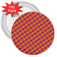 Vibrant Retro Diamond Pattern 3  Buttons (100 Pack)  by DanaeStudio