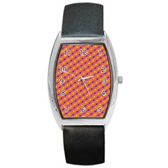 Vibrant Retro Diamond Pattern Barrel Style Metal Watch by DanaeStudio