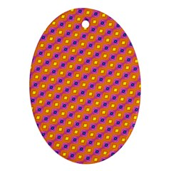 Vibrant Retro Diamond Pattern Oval Ornament (two Sides) by DanaeStudio