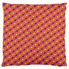 Vibrant Retro Diamond Pattern Large Cushion Case (one Side) by DanaeStudio