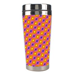 Vibrant Retro Diamond Pattern Stainless Steel Travel Tumblers by DanaeStudio