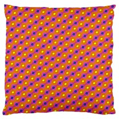 Vibrant Retro Diamond Pattern Large Flano Cushion Case (one Side) by DanaeStudio