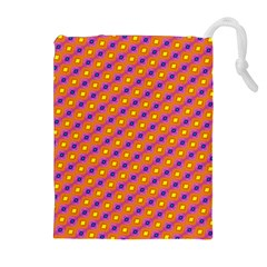 Vibrant Retro Diamond Pattern Drawstring Pouches (extra Large) by DanaeStudio