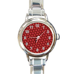 Red Passion Floral Pattern Round Italian Charm Watch by DanaeStudio