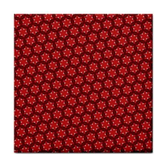 Red Passion Floral Pattern Tile Coasters by DanaeStudio