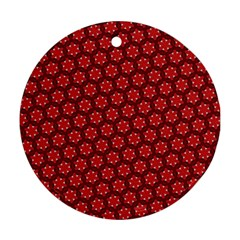 Red Passion Floral Pattern Ornament (round)  by DanaeStudio