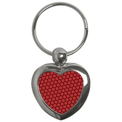 Red Passion Floral Pattern Key Chains (heart)  by DanaeStudio