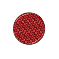 Red Passion Floral Pattern Hat Clip Ball Marker (4 Pack) by DanaeStudio