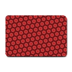Red Passion Floral Pattern Small Doormat  by DanaeStudio