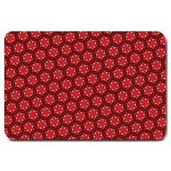 Red Passion Floral Pattern Large Doormat  by DanaeStudio