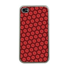 Red Passion Floral Pattern Apple Iphone 4 Case (clear) by DanaeStudio