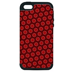 Red Passion Floral Pattern Apple Iphone 5 Hardshell Case (pc+silicone) by DanaeStudio