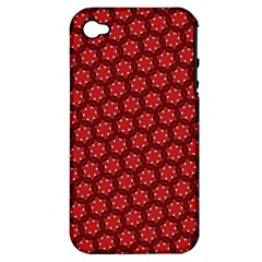 Red Passion Floral Pattern Apple Iphone 4/4s Hardshell Case (pc+silicone) by DanaeStudio