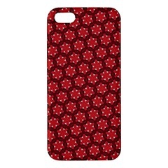 Red Passion Floral Pattern Apple Iphone 5 Premium Hardshell Case by DanaeStudio
