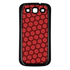 Red Passion Floral Pattern Samsung Galaxy S3 Back Case (black) by DanaeStudio