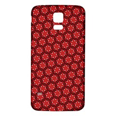 Red Passion Floral Pattern Samsung Galaxy S5 Back Case (white) by DanaeStudio