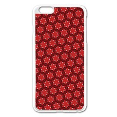 Red Passion Floral Pattern Apple Iphone 6 Plus/6s Plus Enamel White Case by DanaeStudio