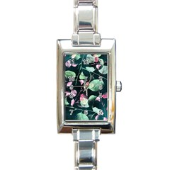 Modern Green And Pink Leaves Rectangle Italian Charm Watch by DanaeStudio