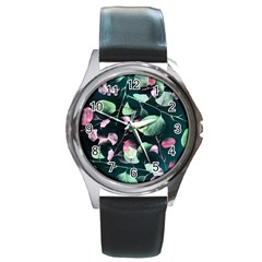 Modern Green And Pink Leaves Round Metal Watch by DanaeStudio