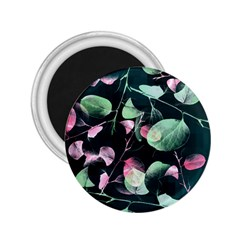 Modern Green And Pink Leaves 2 25  Magnets by DanaeStudio