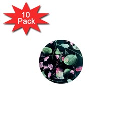 Modern Green And Pink Leaves 1  Mini Magnet (10 Pack)  by DanaeStudio