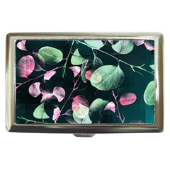 Modern Green And Pink Leaves Cigarette Money Cases by DanaeStudio