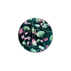Modern Green And Pink Leaves Golf Ball Marker by DanaeStudio
