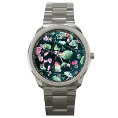 Modern Green And Pink Leaves Sport Metal Watch by DanaeStudio