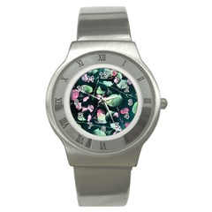 Modern Green And Pink Leaves Stainless Steel Watch by DanaeStudio