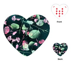 Modern Green And Pink Leaves Playing Cards (heart)  by DanaeStudio