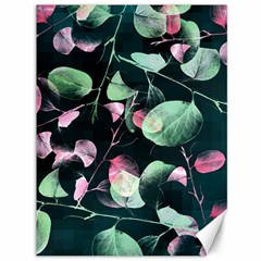 Modern Green And Pink Leaves Canvas 36  X 48   by DanaeStudio