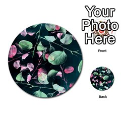 Modern Green And Pink Leaves Multi Purpose Cards (round)  by DanaeStudio