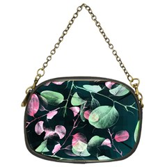 Modern Green And Pink Leaves Chain Purses (two Sides)  by DanaeStudio