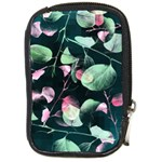 Modern Green And Pink Leaves Compact Camera Cases Front