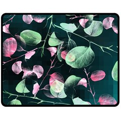 Modern Green And Pink Leaves Fleece Blanket (medium)  by DanaeStudio
