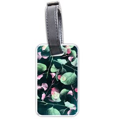 Modern Green And Pink Leaves Luggage Tags (two Sides) by DanaeStudio