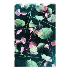 Modern Green And Pink Leaves Shower Curtain 48  X 72  (small)  by DanaeStudio
