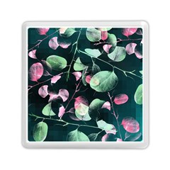 Modern Green And Pink Leaves Memory Card Reader (square)  by DanaeStudio