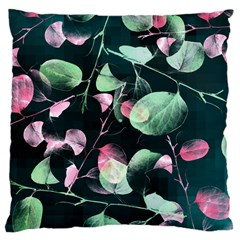 Modern Green And Pink Leaves Large Cushion Case (one Side) by DanaeStudio